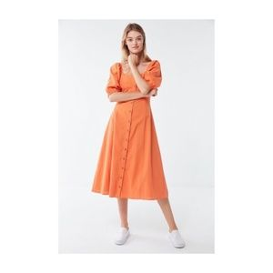 UO Maria Puff Sleeve Button-Front Midi Dress